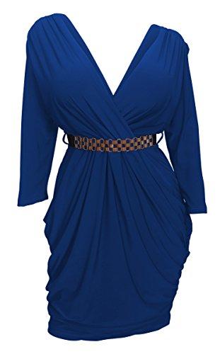 eVogues Apparel  Plus Size Deep V Neck Wrap Bodice Long Sleeve Dress Royal Blue ,Ls   Royal Blue,2X -
