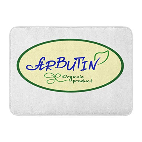 "Emvency Bath Mat Arbutin Organic Product Handwritten Name of for Labels Price Tag Booklet Tablets Cosmetics and Cream Bathroom Decor Rug 16"" x 24"""