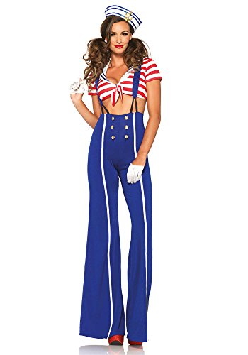 Leg Avenue Women's 3 Piece Ship Shape Sailor Costume, Blue/Red, (Leg Avenue Sailor Costume)