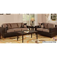 Seattle 2-pcs Sofa and Loveseat Living Room Set in Chocolate Color.