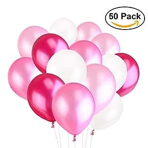 NUOLUX 3,2 g 50pcs látex Globos Globos perla para boda cumpleaños globos fiesta Toy (blanco rosa luz rosa ciruela)