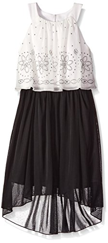 Black And Ivory Halter Dresses (Amy Byer Big Girls Halter Popover Hi Lo With Stone Trim, Black/Ivory, 7)