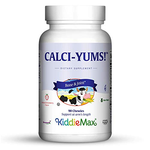 Maxi Health KiddieMax Calcium - CalciYum! - Strawberry Flavor - 90 Animal Shaped Chewies - Kosher