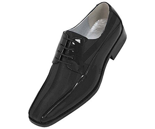 Viotti Men's Formal Oxford Dress Shoe Striped Satin and Patent Tuxedo Classic Lace Up with or Without Tip Style 179/5205 Black]()