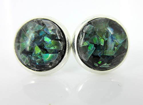 Shiny Silver-tone Black and Opalescent Leaf Resin Stud Earrings 10mm