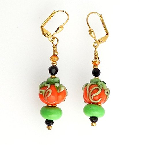 Orange and Green Handmade Halloween Pumpkin Beaded Dangle Earrings With Black Crystals and Gold Color Lever-Back Pierced Earring (Crystal Beaded Leverback Earrings)