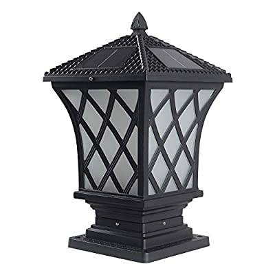 Kendal Large Outdoor Solar Lamp Post Light Powered LED Cap Light Water-Resistant Pillar Light, Black
