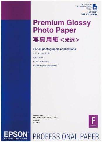 Epson C13S042091 Premium Glossy - Papel fotográfico 255g / m2 A2, 1 pack de 25 hojas: Epson: Amazon.es: Oficina y papelería