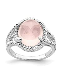 925 Sterling Silver Rose Quartz Diamond Band Ring Gemstone Fine Jewelry For Women Gifts For Her