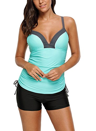 Eternatastic Womens Underwire Tankini Top With Boyshorts Swimsuits Costume Swimwear XL (Underwire Bathing Costumes)