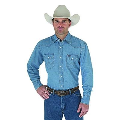 Wrangler Men's Western Work Shirt Washed Finish