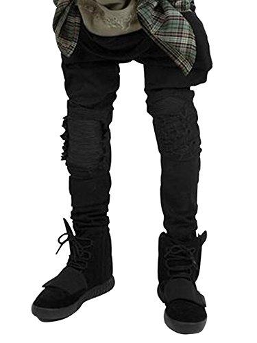 Skinny Nero Fit Casual Slim Da Uomo Abbigliamento Vestibilità Jeans Pantaloni xnpwvgTzE