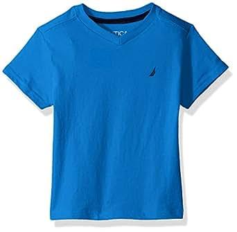 Nautica Toddler Boys' Short Sleeve Solid V-Neck T-Shirt, Strait Meknes Blue, 2T
