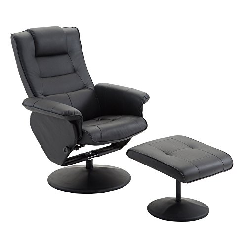 Cloud Mountain PU Leather Recliner Chair and Ottoman Leisure Swivel Lounge Living Room Furniture Set, Black