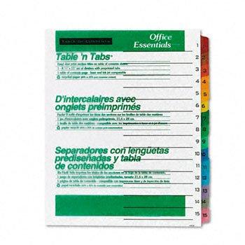 Averyamp;reg; Office Essentials Table `N Tabs Dividers, 15 Multicolor Tabs, 1-15, Letter, Set