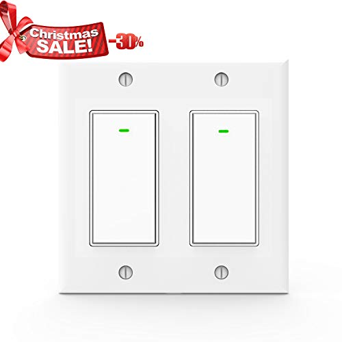 Control Gang (Wifi Light Switches,Smart Switch, Alexa Switch Compatible with Google Home and IFTTT, Wireless remote control, White Neutral wire required, Physical Button (2 gang))