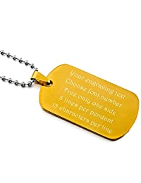 MeMeDIY Silver Tone Black Gold Tone Blue Stainless Steel Pendant Necklace Dog Tag ,come with Chain - Customized Engraving