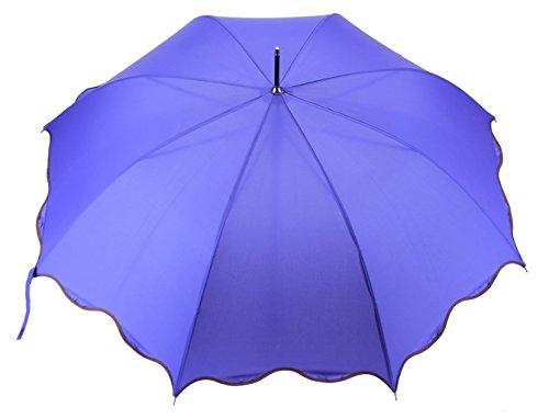 Distinguished Designer Wave Umbrella with Leather Handle, Purple