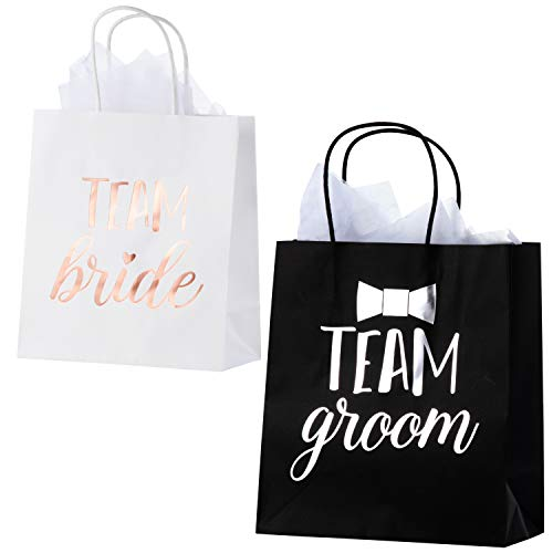 Bridesmaid and Groomsmen Gift Bags – 20-Pack Bridal Party Favor Treat Bags with Metallic Silver and Rose Gold Foil – Includes 20 Tissue Sheets – Team Groom and Team Bride Design, 8 x 4 x 9 Inche