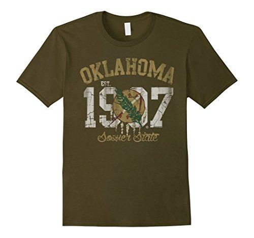 Tee Oklahoma - Men's Vintage Oklahoma Sooner State Flag T Shirt XL Olive