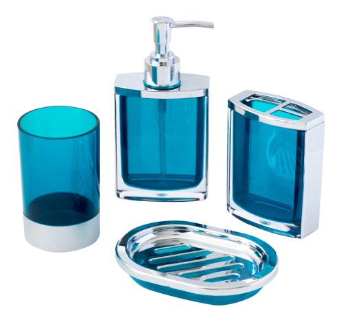JustNile 4-Piece Vogue Translucent Blue and Chrome Bathroom Accessory Set; includes Tumbler, Toothbrush Holder, Soap Dispenser and Dish – Made with Durable Acrylic.