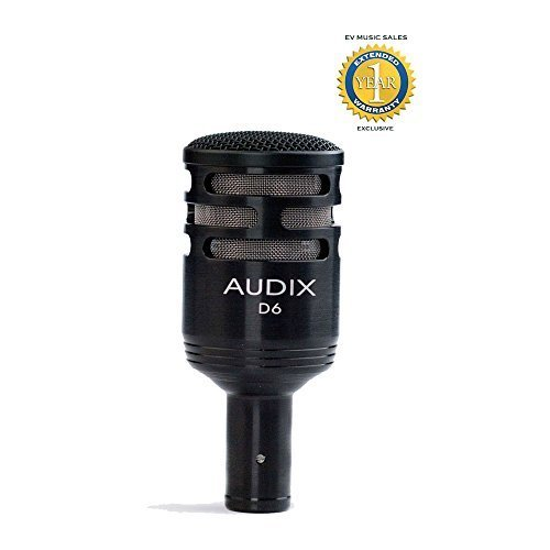 Audix D6 Dynamic Cardioid Kick Drum Microphone Black with 1 Year Free Extended Warranty