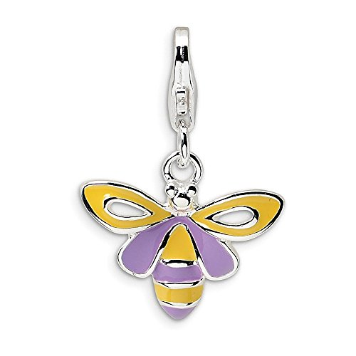 FB Jewels Solid Sterling Silver Enameled Bee W/Lobster Clasp Charm