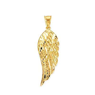 Textured 14k Yellow Gold Angel Wing Charm Pendant by Claddagh Gold