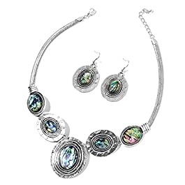 Womens Drop Abalone Shell Tribal Boho Coastal Hammered Dangle Vintage Drop Necklace Pendant Earrings