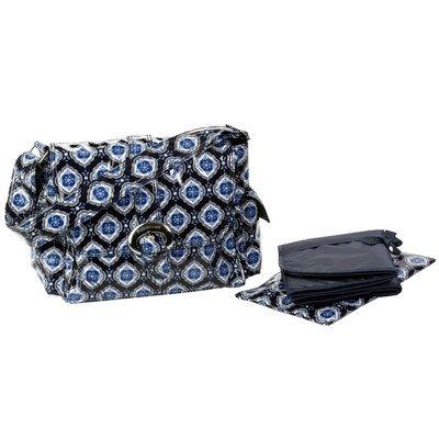 Kalencom Midi Coated Diaper Buckle Bag, Navy Medallion