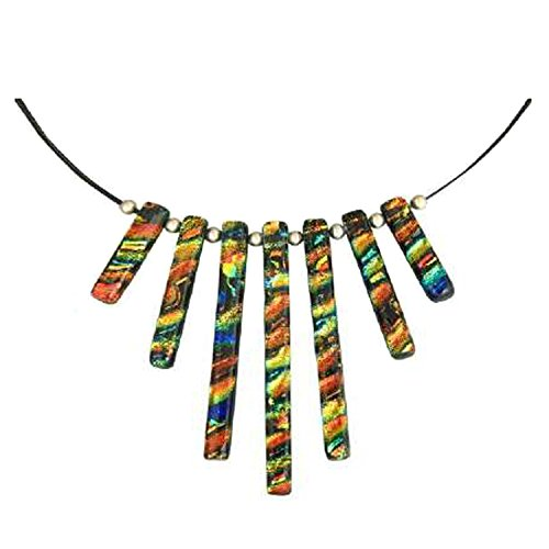 Dreamglass Mexico Sterling Silver Dichroic Multi-Colored Glass Tiered Pendant Necklace, 18