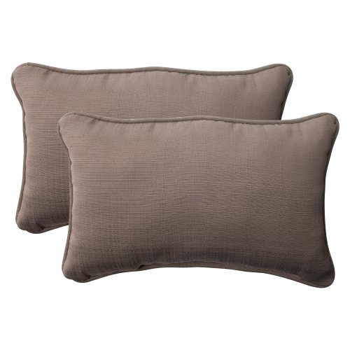(Pillow Perfect Outdoor Forsyth Corded Rectangular Throw Pillow, Taupe, Set of 2)