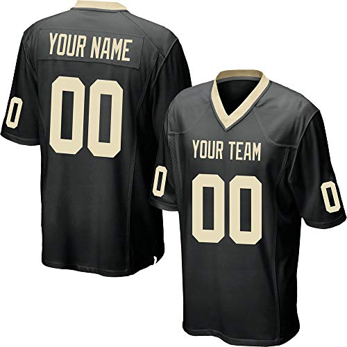 Custom Men's Black Mesh Football Game Jersey Stitched Team Name and Your Numbers,Gold Size 3XL