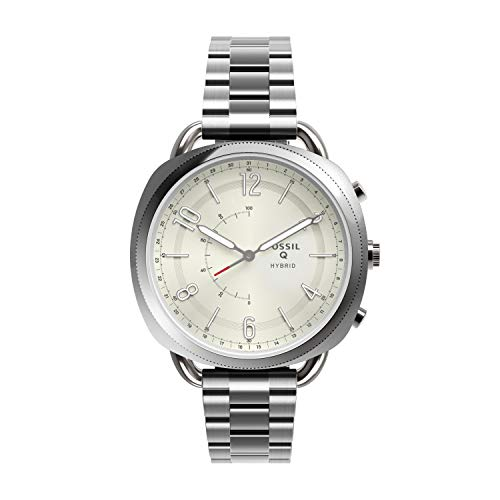 Q-link Silver Pebble - Fossil Women's Accomplice Stainless Steel Hybrid Smartwatch, Color: Silver (Model: FTW1202)