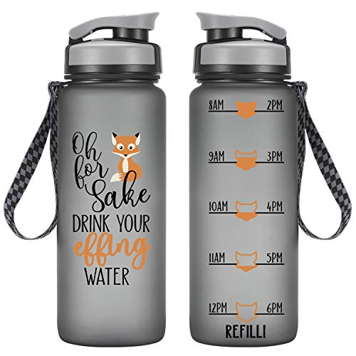 LEADO 24oz Motivational Tracking Water Bottle with Time Marker - Oh for Fox Sake Drink Your Effing Water - Funny Birthday, Summer Gifts for Women Friends, Kids, Daughter, Son - Drink More Water Daily ()