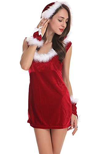 Costumes Santa Mrs Little (HoHer Womens Miss/Mrs Sexy Santa Clause Costume Christmas Halloween Party Dress Suits RED #7 Free)