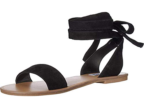Steve Madden Women's Reputation Sandal, Black Suede, 8 M US