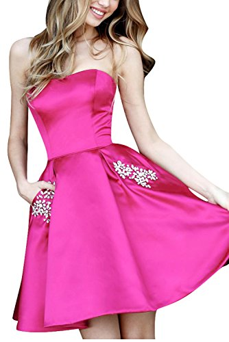 Beaded Strapless Prom Dress - Beaded Strapless Prom Dresses Pockets Short Satin A Line Homecoming Party Gown Hot Pink Size 12
