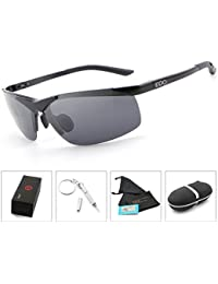 EDO Men's Sports Style Polarized Sunglasses for Driving Fishing Cycling Golf Glasses Unbreakable Al-Mg Metal Frame
