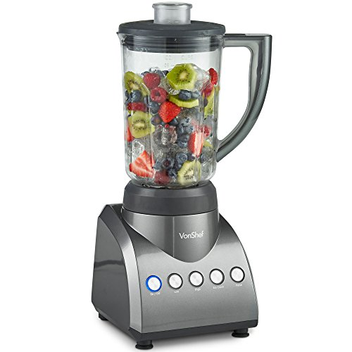 (VonShef Countertop Blender and Mixer, with 6 Cup Jar, Multi-Function Blender, High Speed Smoothie Blender, Ice Crush, Great For Smoothies and Shakes, 750W)