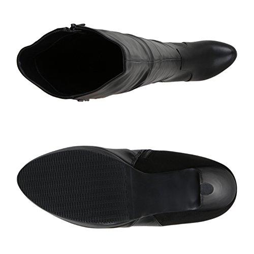Stiefelparadies Heiße Damen Stiefel Overknees High Heels Plateau Boots Flandell Schwarz Schnallen Autol