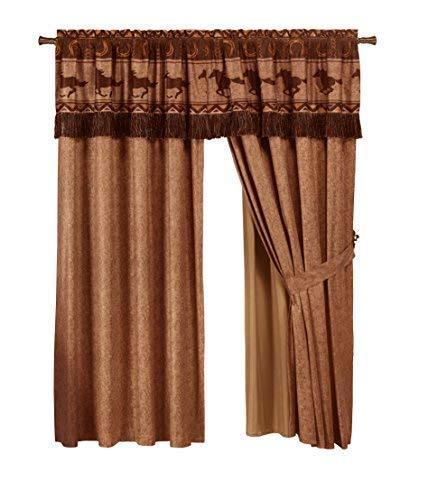 (Chezmoi Collection Sedona 4-Piece Southwestern Wild Horses Window Curtain Set)
