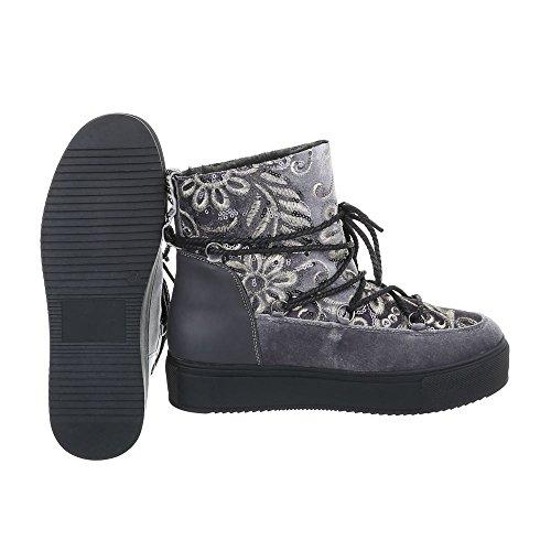 Zapatos para mujer Botas Plano Botines con cordones Ital-Design Gris H-1-1