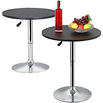Topeakmart Modern Round Bar Table Adjustable Bistro Pub Counter Swivel Cafe  Tables (2)