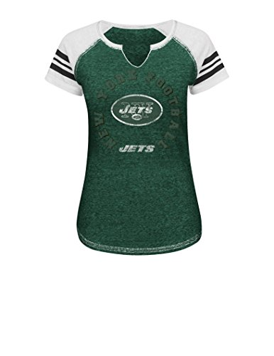 NFL New York Jets Women's More Than Enough V Short Sleeve Raglan Split Neck Tee, X-Large, Dark Green Blurry/White/White (Sox Therma Base Red)