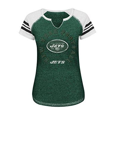 Textured Split Neck - NFL New York Jets Women's More Than Enough V Short Sleeve Raglan Split Neck Tee, Large, Dark Green Blurry/White/White