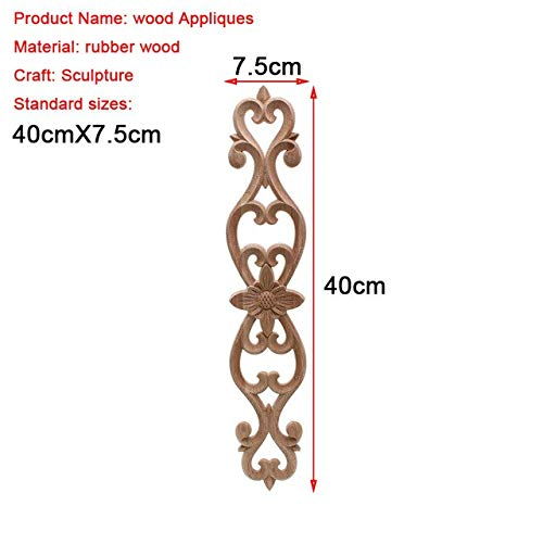 ZAMTAC Unpainted Wood Oak Wave Flower Onlay Decal Corner Applique for Home Furniture Decor Decorative Wood Carved Long Applique - (Color: 40cmX7.5cm)