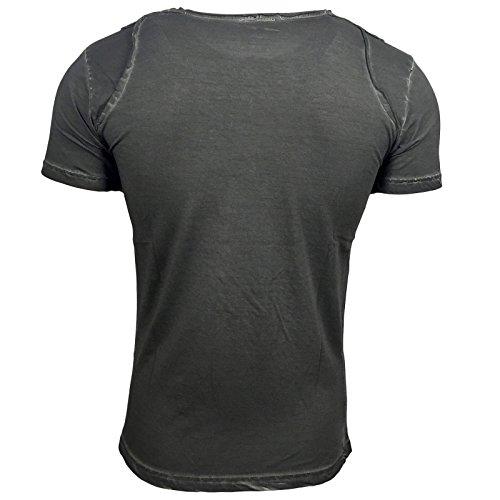 T-Shirt Shirt Herren Blau Anthrazit Grün bedruckt Motiv Kurzarm A16776 Avroni, Größe:M, Farbe:Anthrazit
