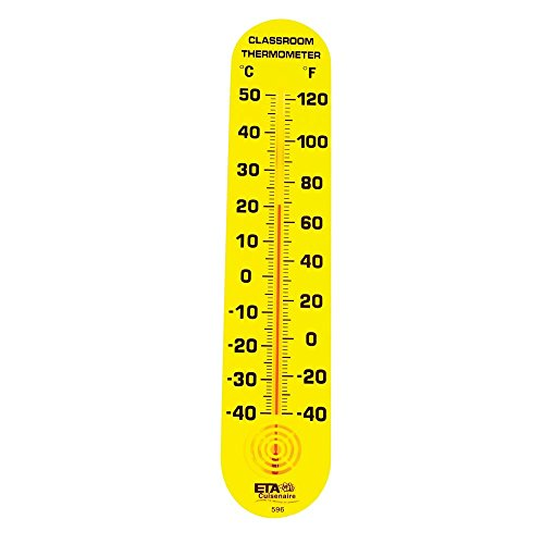 Giant Classroom Thermometer (hand2mind Yellow Wall-Mount Thermometer Indoor/Outdoor for School Classroom, Home, or Office)