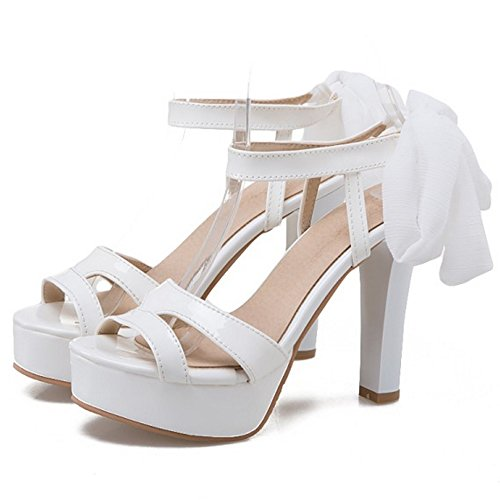 COOLCEPT Mujer Moda Cordones Sandalias Slingback Plataforma Peep Toe Tacon Ancho Zapatos Blanco